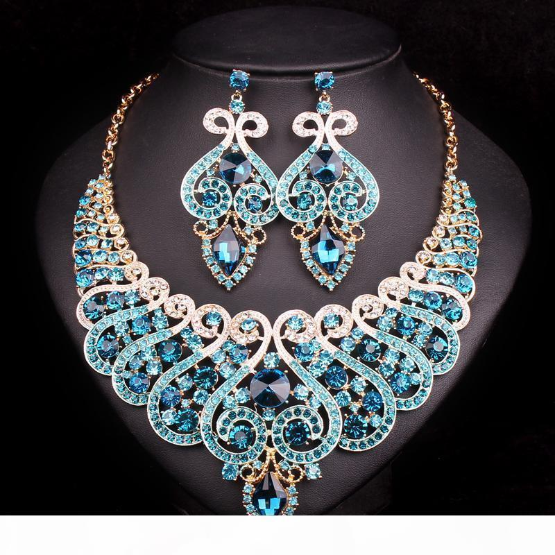 Sistema del pendiente para el partido de las novias dama de joyería fija G entero Salefashion de novia collar de la boda Accesorios decoración de cristal Mujeres