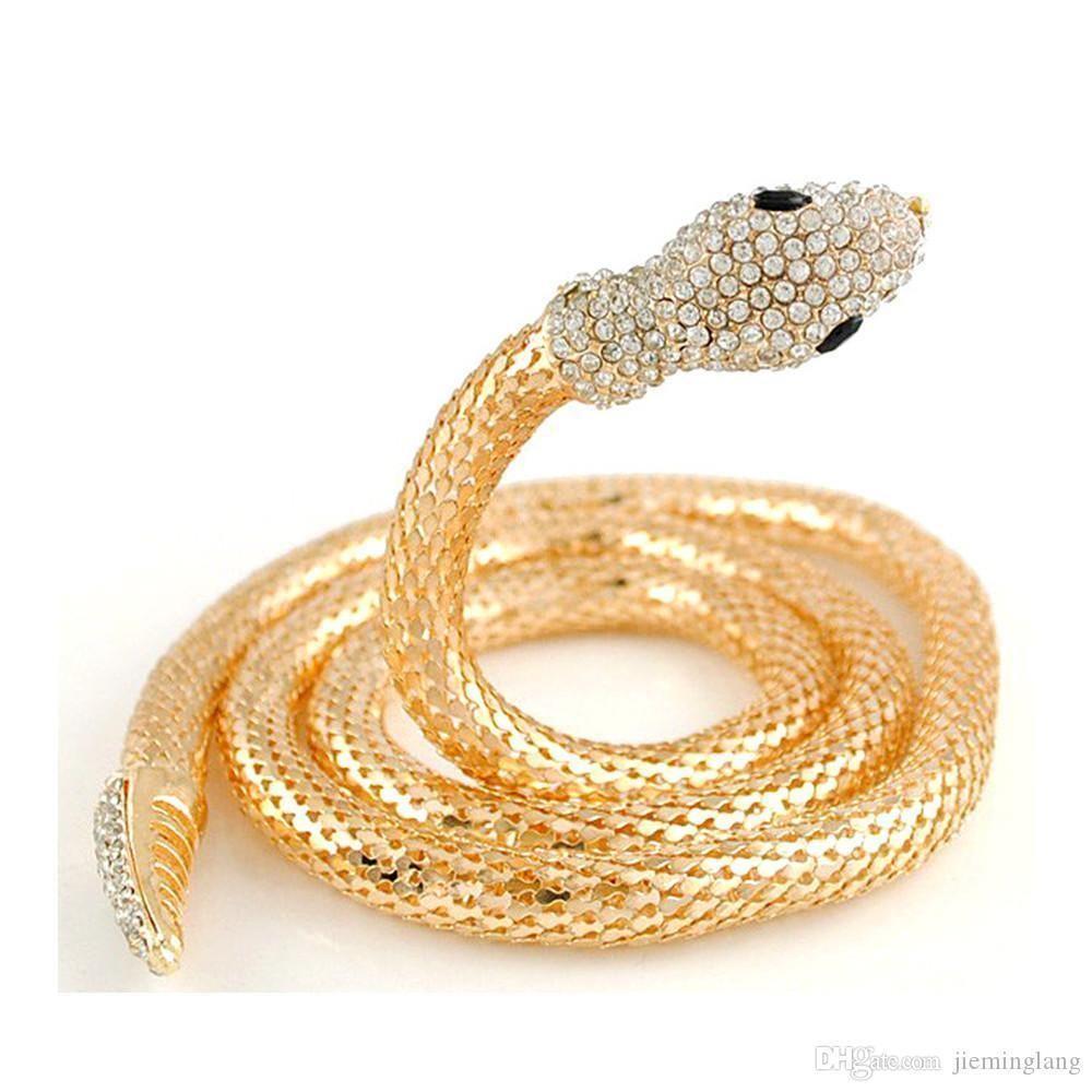 Chock Halskette Goldener silberne Schlange-Ketten-Halskette Diamant-lange Halskette Tieredelstein-Körper-Schmucksache-Strickjacke-Kette Bauchkette