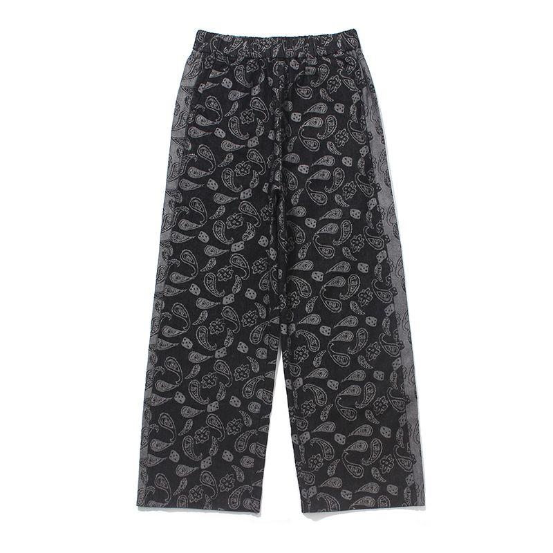Harajuku ретро кешью цветок джинсы Брюки мужские свободные прямые широкие ноги Denim брюки Streetwear заплатки повседневные брюки