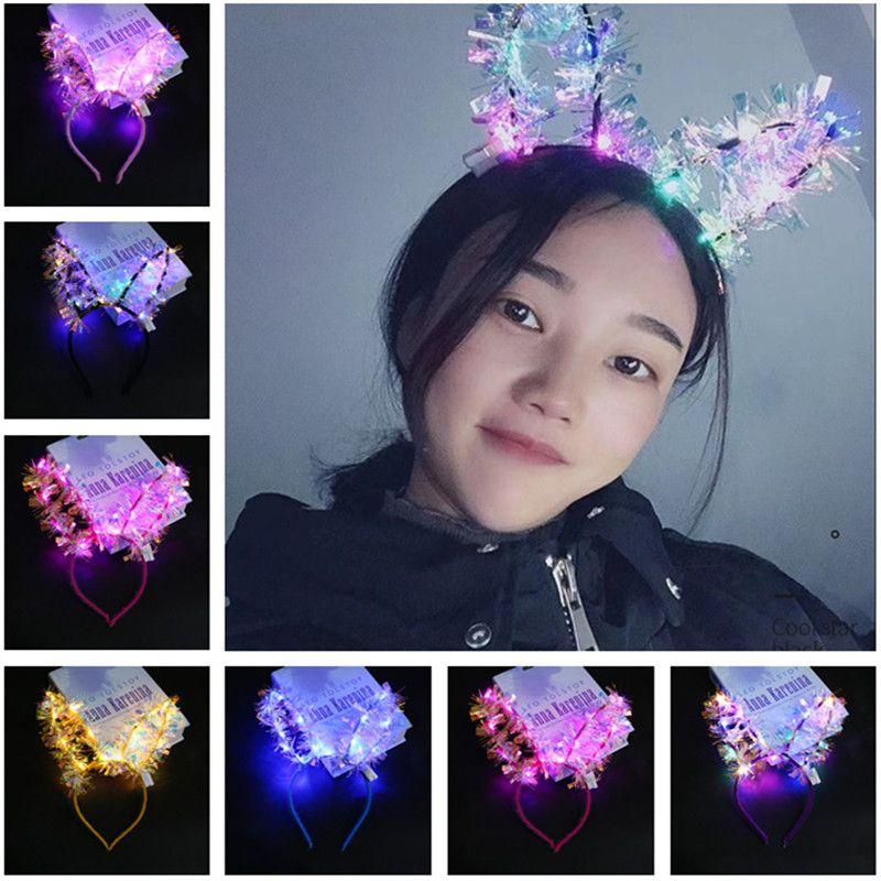 LED luminoso dell'orecchio di coniglio Hair Sticks ragazze lampeggiante del copricapo della piuma dei capelli del cerchio giocattolo del coniglio orecchie da coniglio fascia della festa di compleanno Regali fascia dei capelli