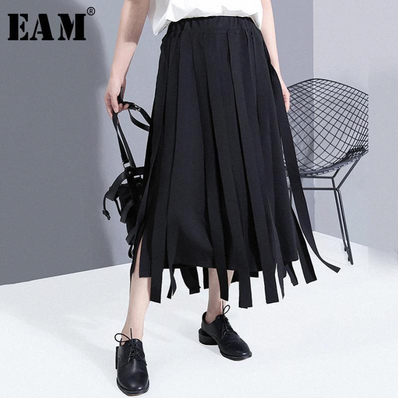 [EAM] de alta elástico de la cintura de la cinta Negro común partido el temprament de medio cuerpo de la falda de las mujeres marea de la moda de Nueva Primavera Otoño 2020 1X68201 YuYR #