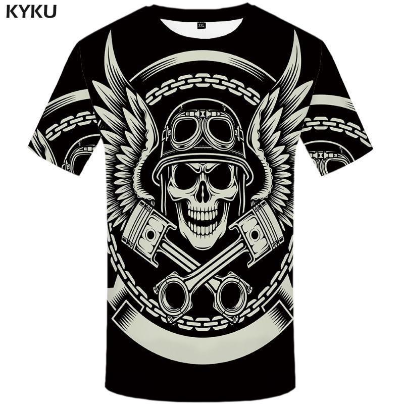 KYKU Crâne T-shirt noir pour homme T-shirt Plume 3D Imprimer T-shirt punk rock Vêtements Anime Hip Hop Vêtements pour hommes Hauts Casual