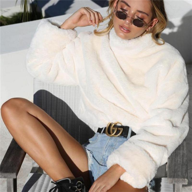 inverno bianco faux delle donne del cappotto di pelliccia tuta ragazze calde finto rivestimento della pelliccia del collare del basamento rotondo femminile maglione delle donne
