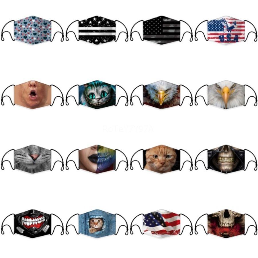 Máscara facial de la moda con el reemplazo de PM2.5 filtro de tela 1Pcs reutilizable lavable de algodón de la mascarilla Ajustable Earloops # 447