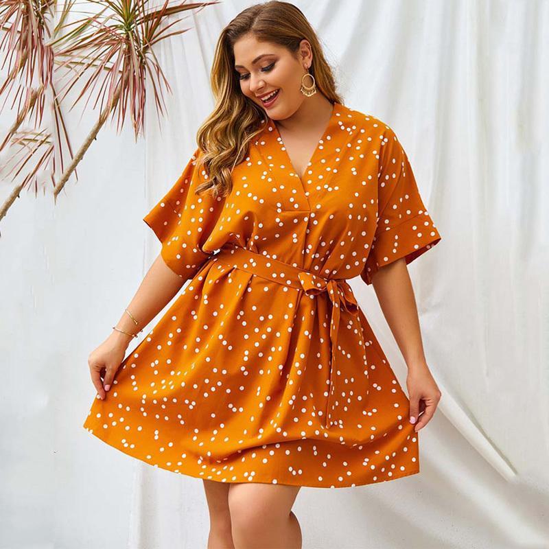 Partito 2020 Abito oversize estate delle donne vestito delle donne Plus Size scollo a V elegante allentato Big Size abito a pois Vestidos XXL XXXL