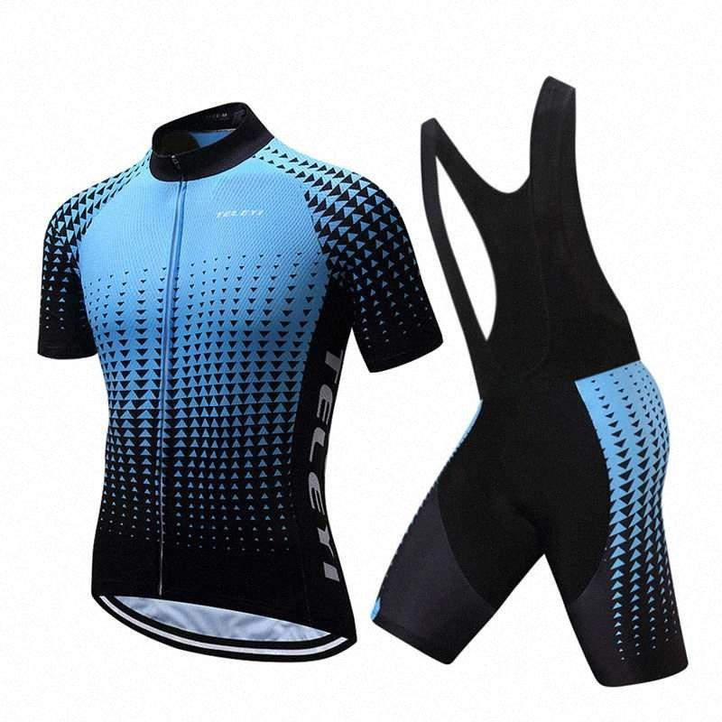 TELEYI 2020 Pro Team Man Cycling Clothing Set Male Short Sleeve Suit Cycle Dress Bicycle Jersey Bike Clothes Maillot Uniform Kit APtH#