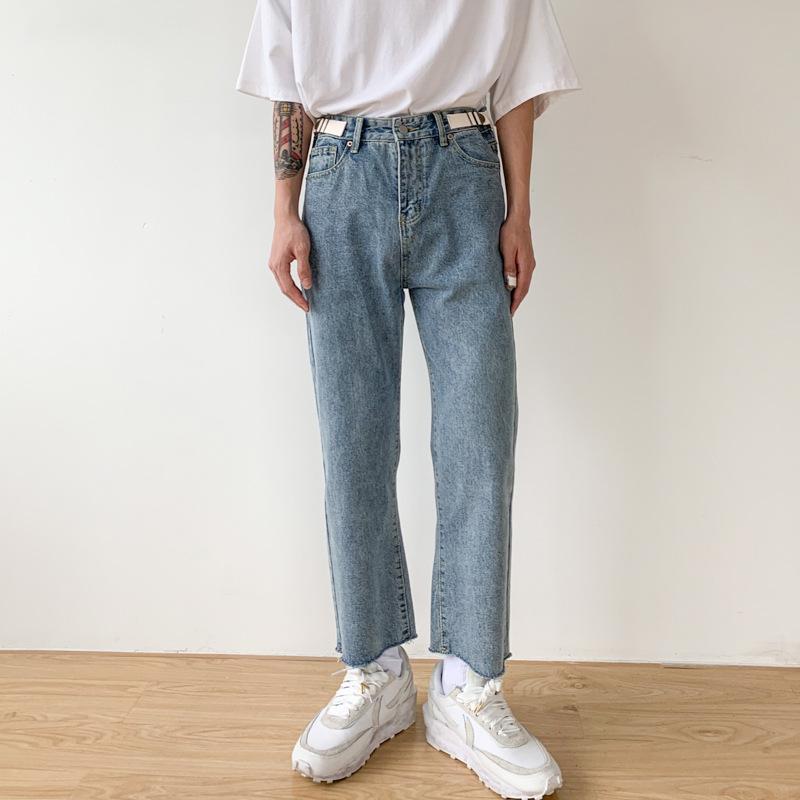 Gerade Knöchel-Längen-Jeanshosen Street Unisex Jeans Hose Hip Hop Vintage Fashion Japan Korea Gebrochene Hem Casual Men Männlich