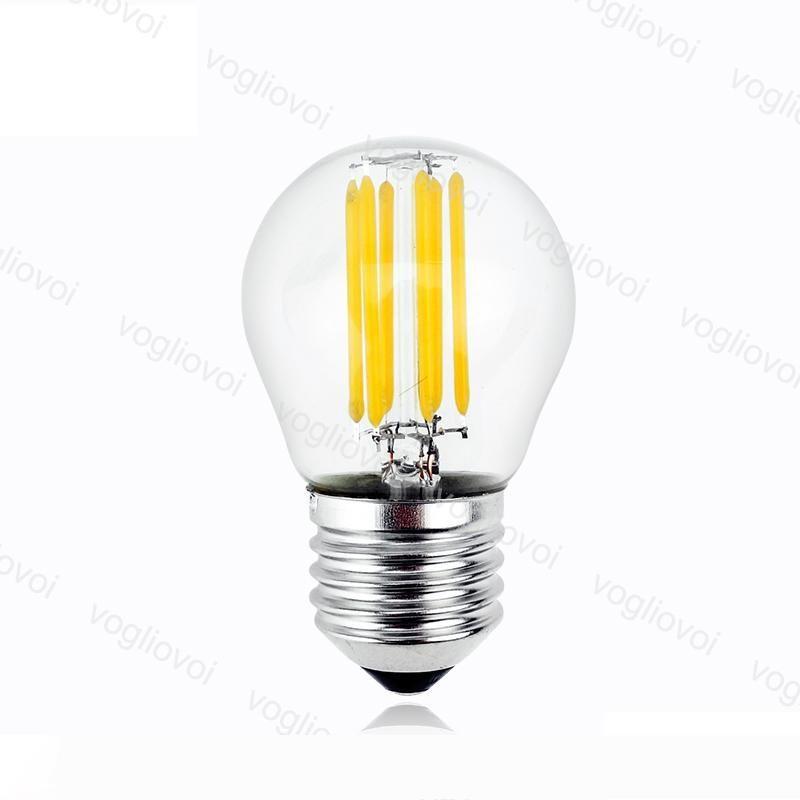 LED Ampuller G45 Yok Dim Filament Mum Işığı 2W 4W 6W E14 E27 Soğuk Beyaz İçin Kristal avizeler kolye Zemin tablo Işıklar DHL