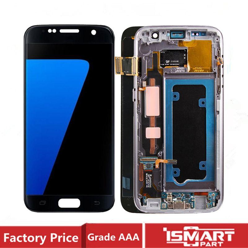 Dokunmatik Sayısallaştırıcı SM-G930 G930F G930FD G930S G930L ile monte OEM AMOLED İçin Samsung Galaxy S7 LCD Ekran