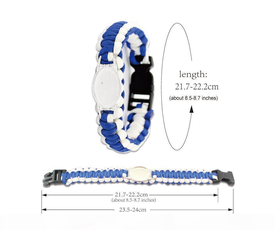 Mix Styles Football Team Paracord Survival Bracelets Custom Made Camping Sports Bracelet NCAA College Charm team umbrella bracelet