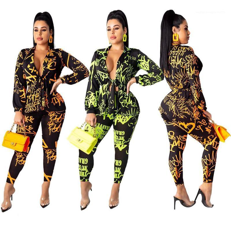 Designer Tute Lettera delle donne floreali Tute manica lunga estate Magro scava fuori con coulisse progettista delle donne Due pezzi Pants