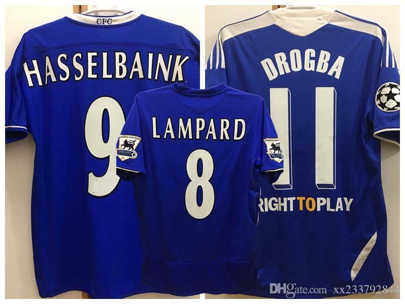 Rétro classique 2004 2005 2006 2012 2012 Jerseys de football Lampard Torres Drogba Mata Terry Ivanovic Daviid Luiz 04 05 11 12 T-shirt de football rétro