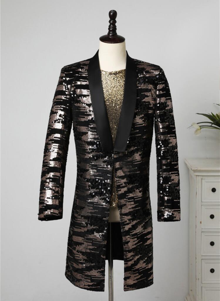 payetler erkekler Orta uzun takım elbise Blazer şarkıcılar giysi dans masculino homme d163 için ceket erkek sahne kostümlerini tasarlayan