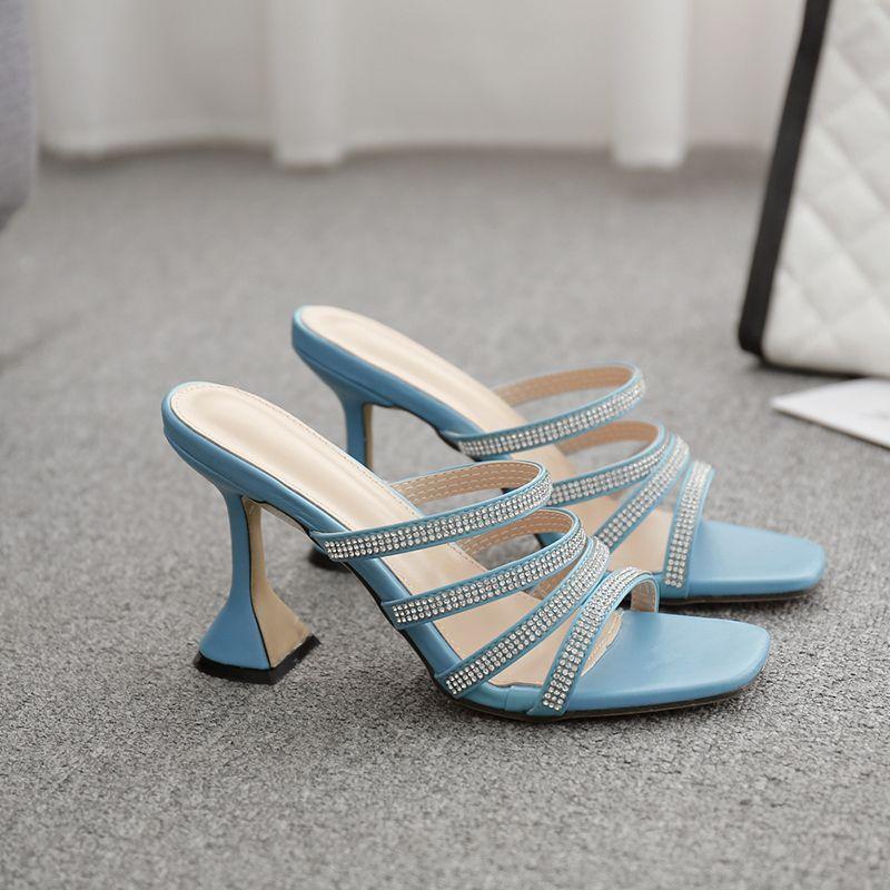 Womens Fashion Pumps Flats white Shoes Mules Open Toe High
