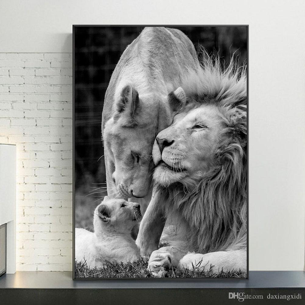 Compre Leones Africanos Familia Blanco Y Negro Lona Poster Arte Y Pinturas Cuadros Animales De La Lona En La Pared Del Arte Cuadros Decoración A 1 03 Del Daxiangxidi Es Dhgate Com
