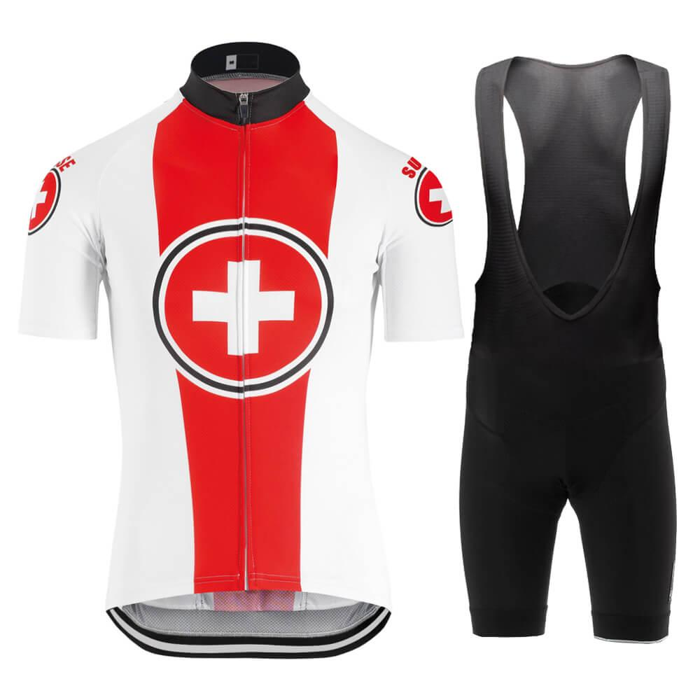 새로운 레드 스위스 사이클링 저지와 턱받이 반바지 젤 패드 세트 남성 여름 짧은 소매 도로 자전거 경주 속건 승마 자전거 의류