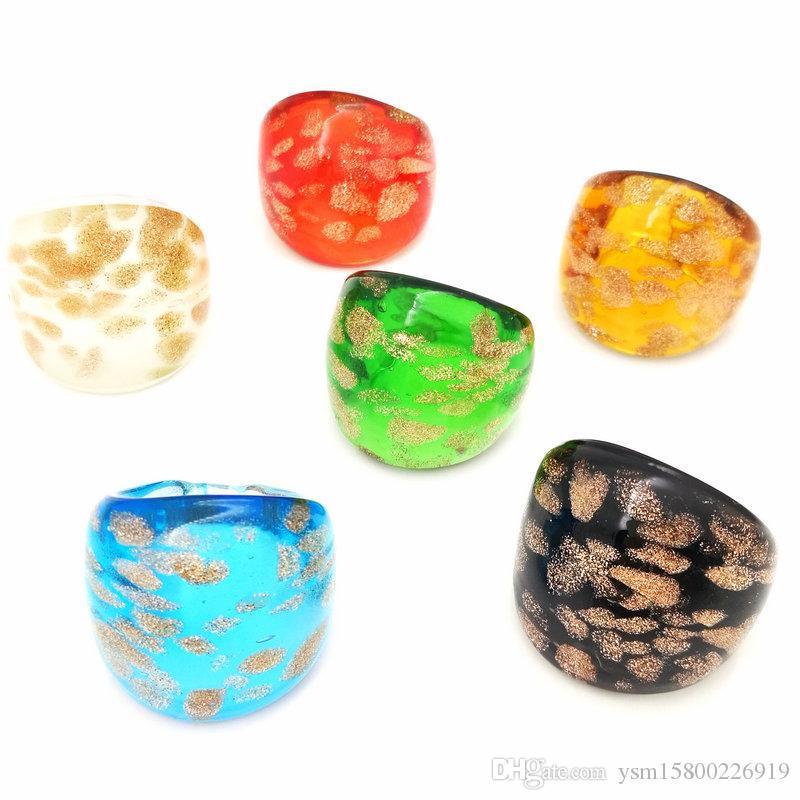 Freies Verschiffen-Groß 6Pcs 17-19mm Punkte Goldsand Murano Glas Ringe, Art und Weise Murano Ringe