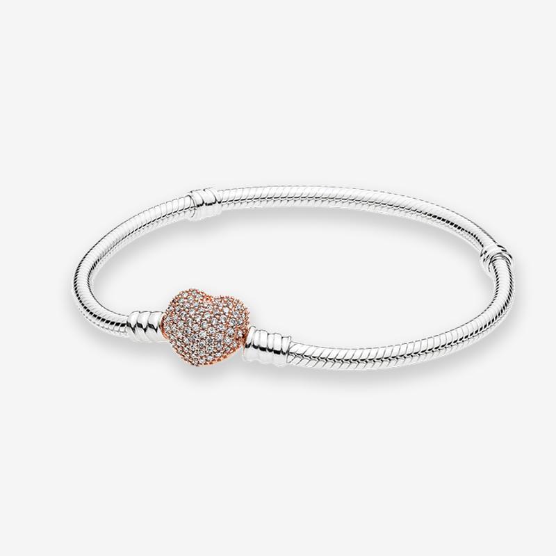 판도라 925 스털링 실버의 매력 팔찌에 대한 원래 상자 18K 로즈 골드 하트 걸쇠 뱀 체인 팔찌 여성 여자 결혼 선물