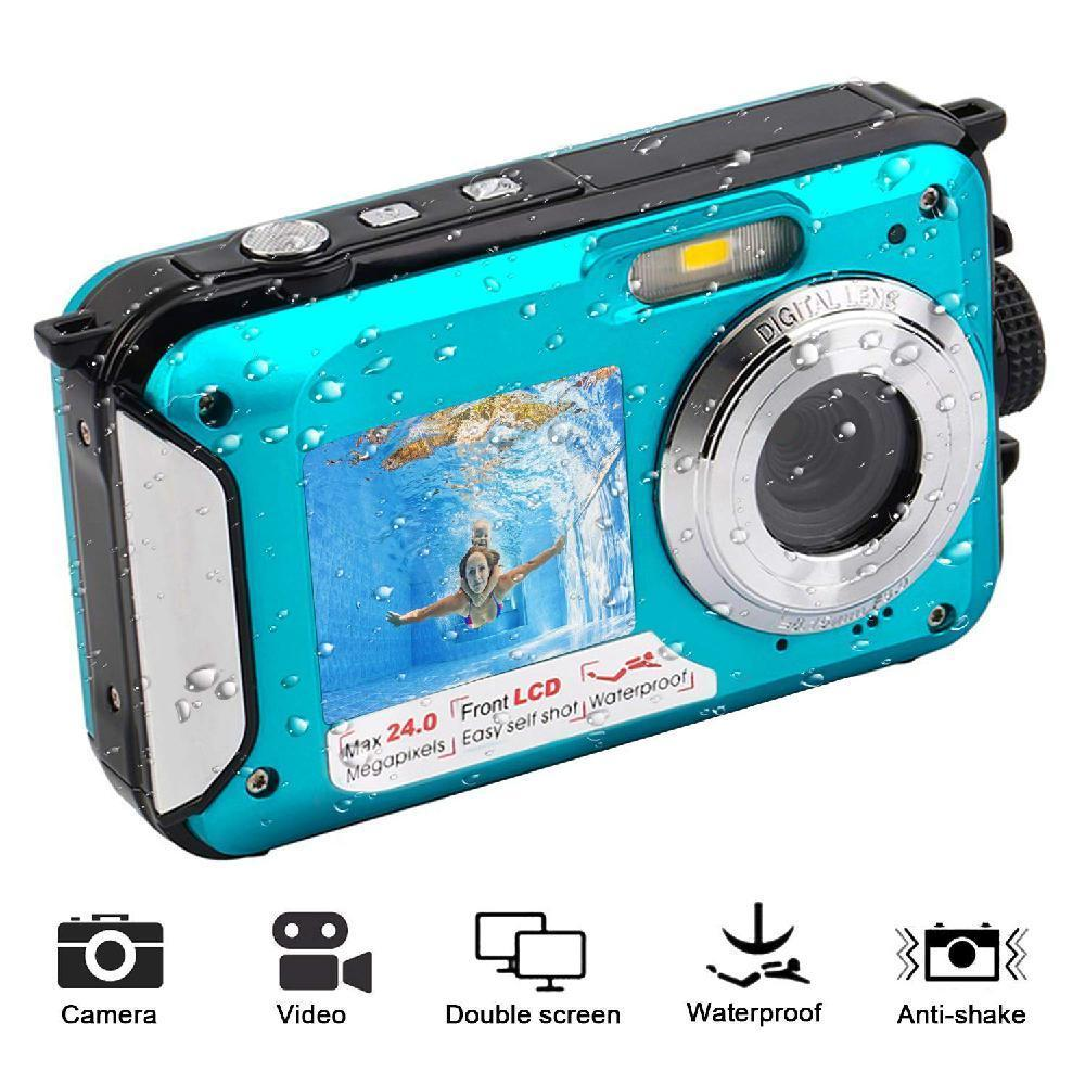 DV Registrazione impermeabile anti-shake digitale Full HD 1080p subacquea 24 MP Video Recorder selfie Dual Screen