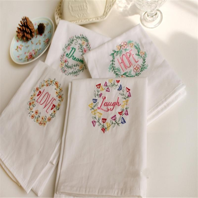 2pcs 45*70 cloth napkin, western table mat, tea towel, wine cup towel pure cotton embroidery, no hair loss