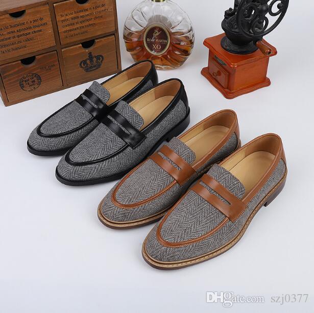 Männer flache Ferse Loafer Kleid-Schuh-echtes Leder-einfache Licht Lederschuhe niedrige Spitze Breath abgerundete Spitze Slip-On-Qualitäts-Partei Schuhe
