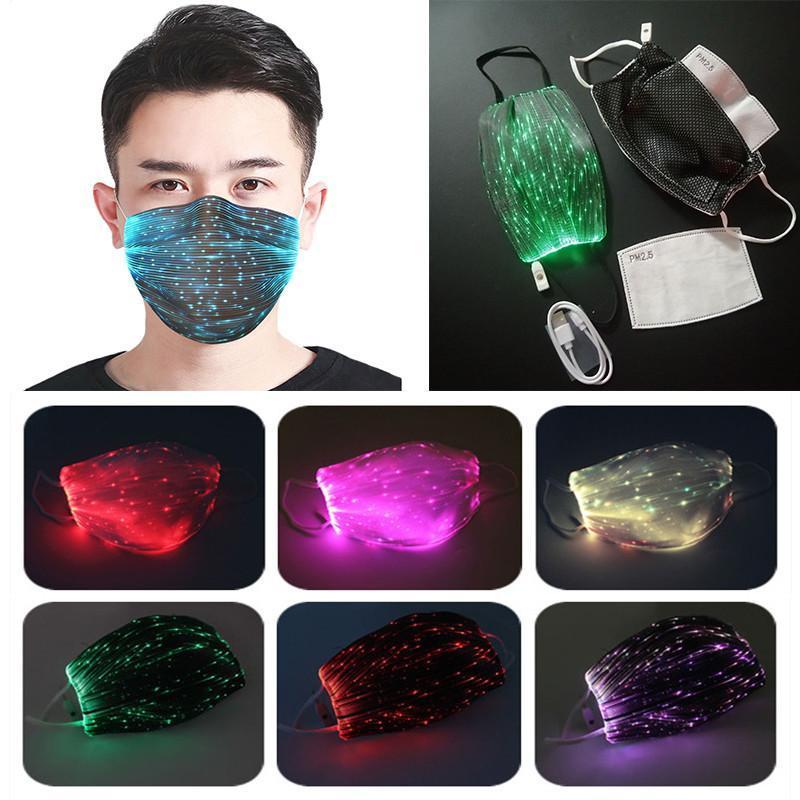 قناع الأزياء متوهجة مع PM2.5 تصفية 7 ألوان أقنعة مضيئة LED الوجه لحفلة عيد الميلاد مهرجان حفلة تنكرية قناع الهذيان