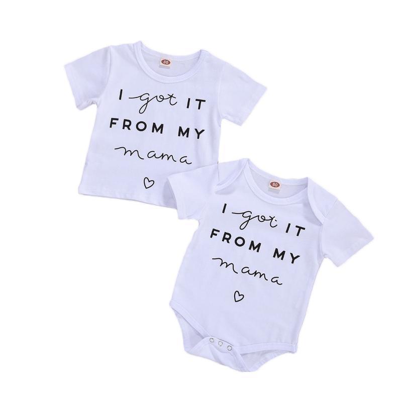 0-18M малышей Детские Письмо печати Одежда с коротким рукавом Круглый шеи Ромпер футболки лето Повседневный стиль Top