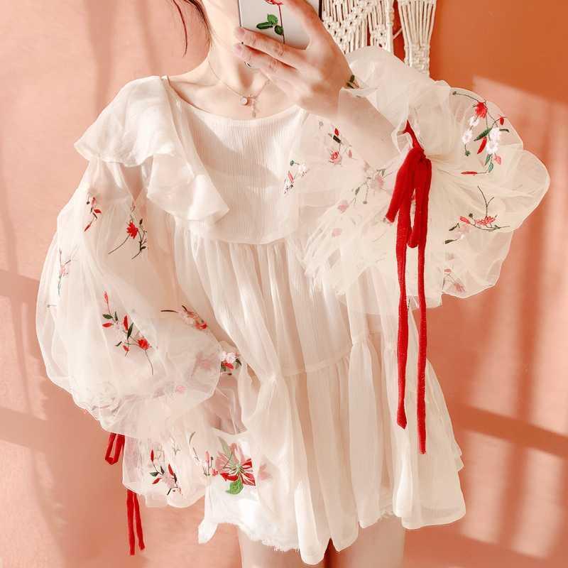 블라우스 봄 여름 여성 한국어 가와이이 달콤한 귀여운 자수 패치 워크 모조 실크 쉬폰 블라우스 캐주얼 오버 사이즈 셔츠