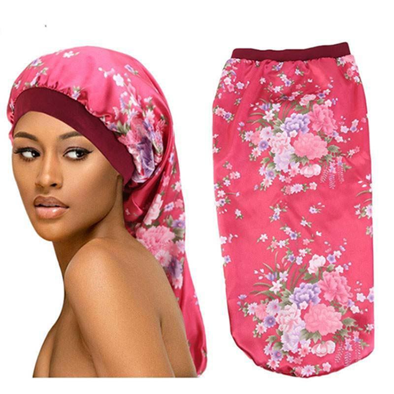 Cappelli lunghi Sleep Hat Floral Wrap Wrap Night Cap Cap Capelli Capelli Bonnet Elastico Banda larga Donne Cappello Satin Cappello per capelli Cura dei capelli Cuocere IIA340