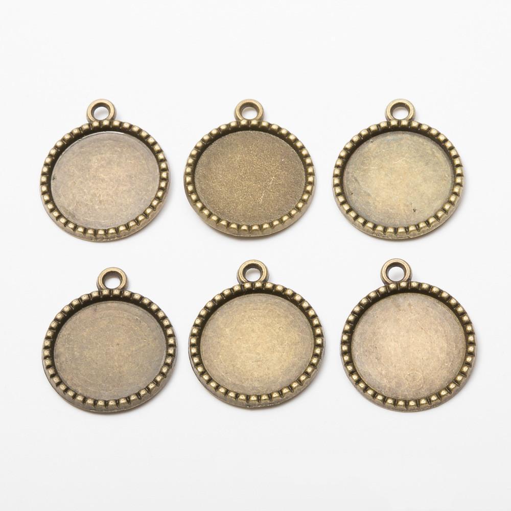 100pcs 26 * 22mm 18mm camée Fit vintage base pendentif blanc RONDE bronze antique cabochons quat magasin lunette bijoux diy estampage