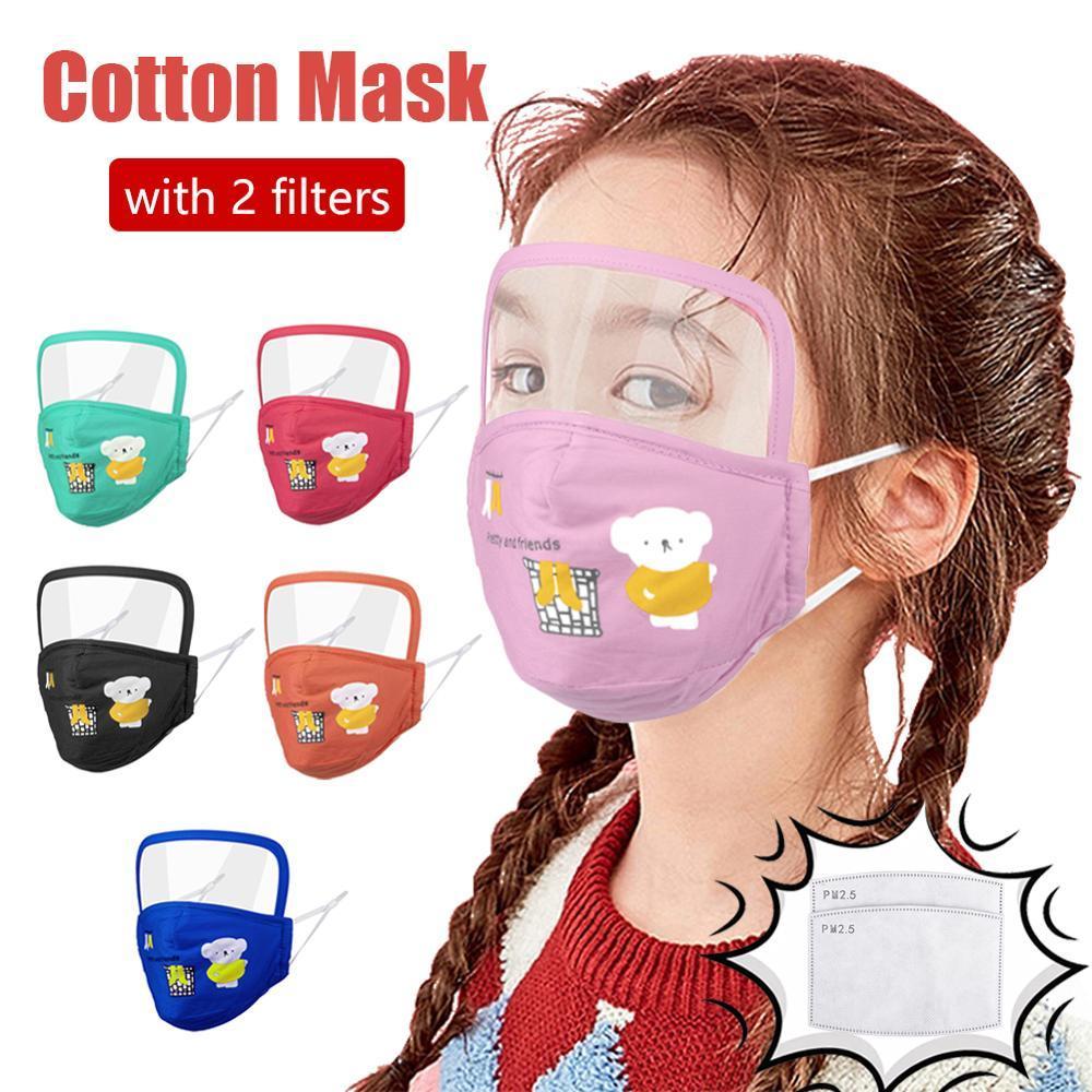 Filtreler Çocuklar Tam Yüz Kapaklı Göz Koruyucu Kalkan Karikatür Bear Çocuk Pamuk Ağız Maskeleri ile ABD Stok Çocuk Tasarımcı Yüz Maskesi