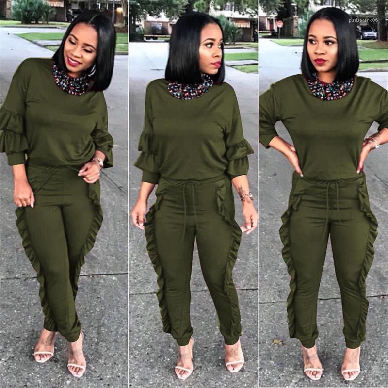 Pantolon Katı Renk Bayanlar Mürettebat Boyun 2 Adet Kıyafetler İlkbahar Sonbahar Kadın İki Piece Womens Kalem Pantolon Tops