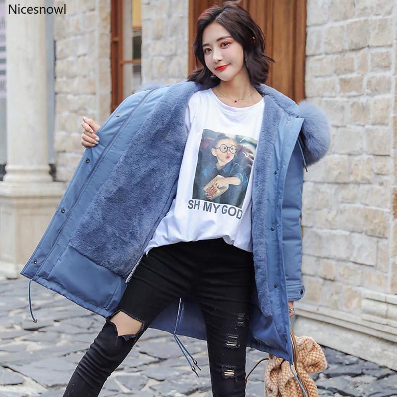 Forro de imitación piel de las mujeres capa encapuchada Largo Invierno Parkas Outwear collar grande de la piel de la chaqueta de las mujeres gruesas de invierno