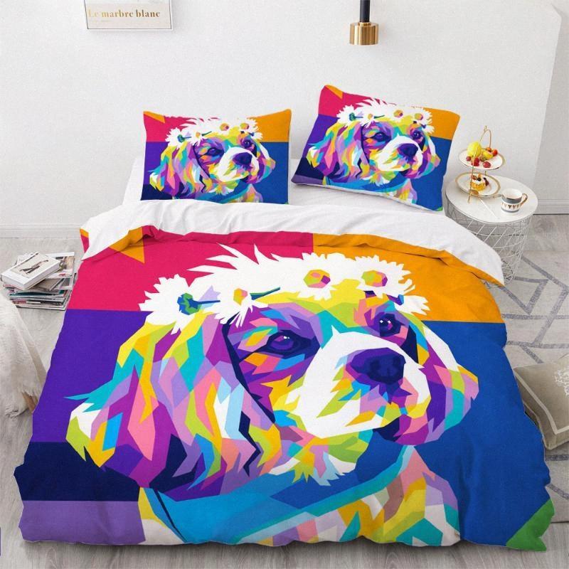 3D Consolateur Shell couette Housse de couette Literie lits jumeaux King Double Queen Simple Taille Cartoon chien Lit design coloré Linge N82s #