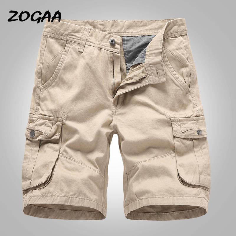 ZOGAA de carga pantalones cortos para hombres Pantalones 2020 nuevos ocasionales cortos de algodón masculino flojo trabajo hombre de baja estatura