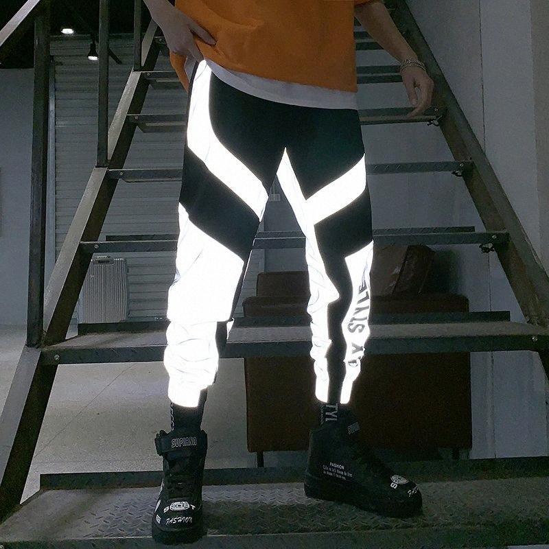 Riinr 2020 neue Sommer-Männer Frauen Sweatpant Flash-Reflective Hosen Jogger Hip Hop Dance Show Party Night Jogger Baggy Trousers 6TiD #