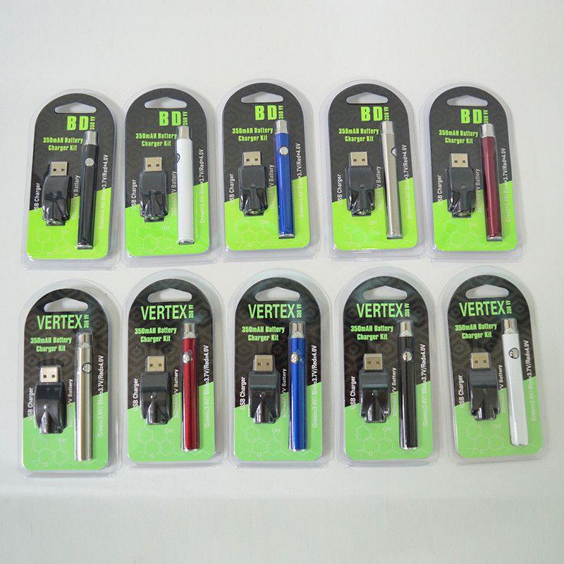 Vertex Baterias 510 Thread Vape Bateria Pré-aquecimento Vape PENS BATERIA 350MAH Variável Tensão 510 Cartuchos Bateria para Carrinho de Vape de Óleo Grosso