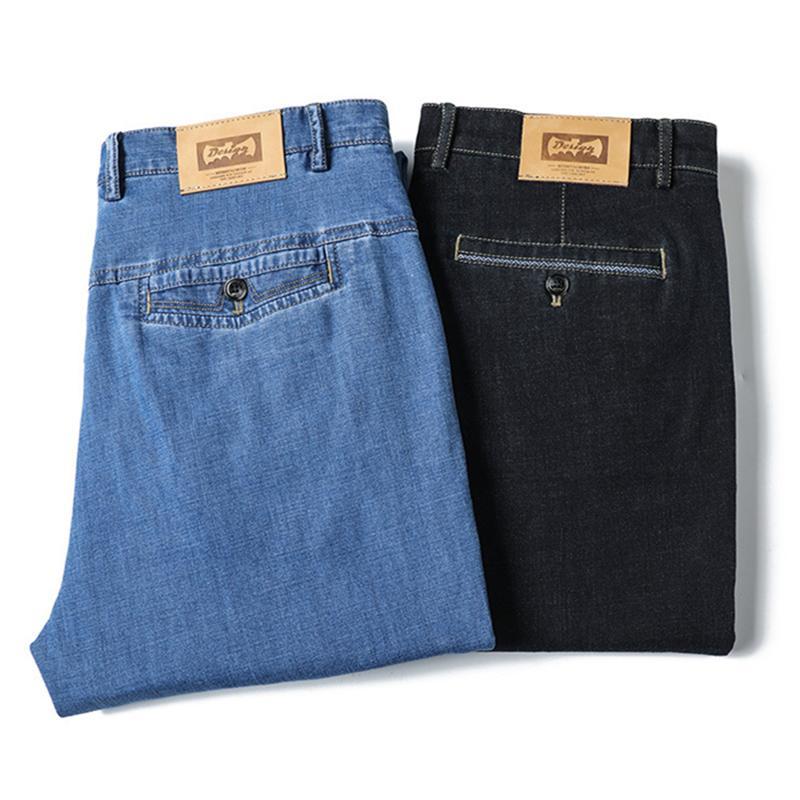 Erkekler Siyah Mavi Tencel İnce Yaz Denim Jeans Erkekler Straigth Stretch Erkek Pant 2020 ICPANS Yüksek Bel Kot