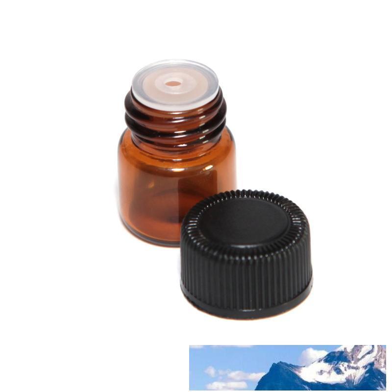 2000pcs / lot 1 ml (1/4 Dram) Gelb Glas ätherische Öl Flasche Parfüm Probenröhrchen Flasche mit Plug-and-Kappen