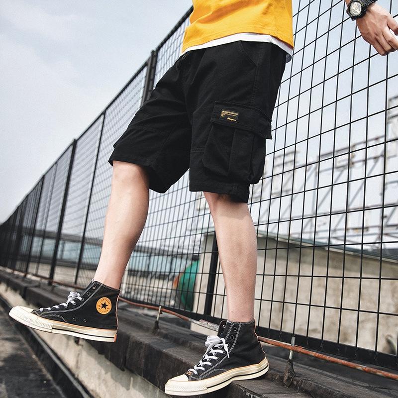 Yaz erkekler ince kırpılmış şort erkek öğrenci gençlik moda moda spor pantolon şort spor pantolon tulum