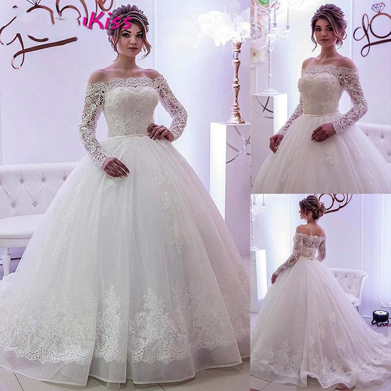 2021 Elegant Ball Gown Wedding Dresses Lace Tulle Boat Neck Long Sleeves Crystals Bridal Gowns Vintage Full Lace Princess Tutu Skirt Dubai