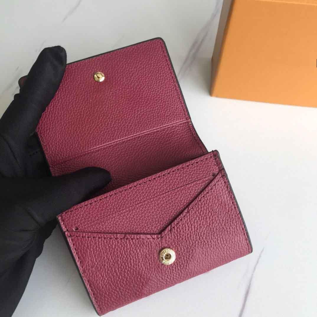 Heißer Verkaufs-Entwurf-echtes Leder kurze Mappe für Frauen Marke Mappen-Kupplungs-Haspe Portemonnaie mit Original-Box