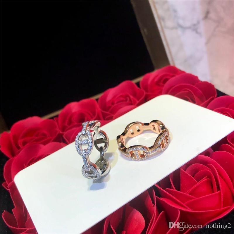 Anelli Farandole monili di lusso Argento 925 Diamante Pig Nose squisiti gioielli anelli del regalo delle donne di trasporto