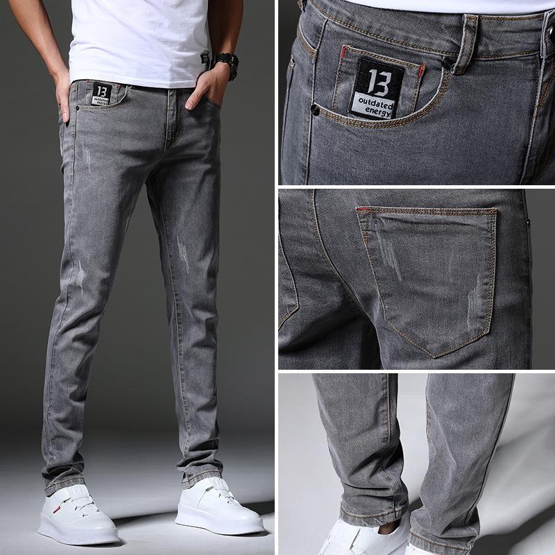 Летние стрейчи джинсы корейских пригонки мужских все соответствуют маленьким ножкам 2020 новых случайные брюки модной случайным мужских брюк