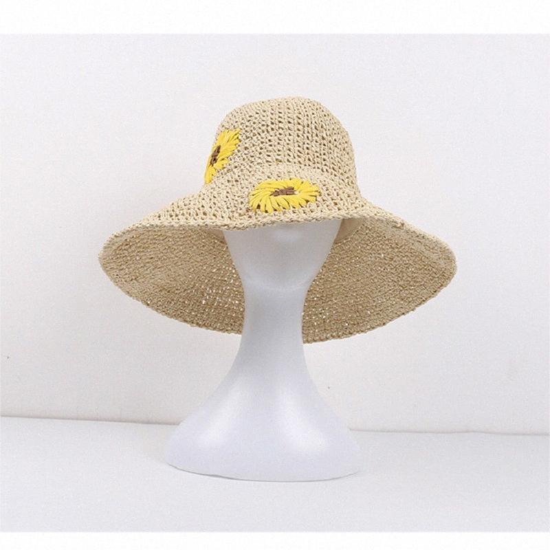 Şapka kadın yaz güneşten gelen katlanabilir hasır şapka küçük taze moda vahşi güneş anti-UV güneş gelgit ybti #