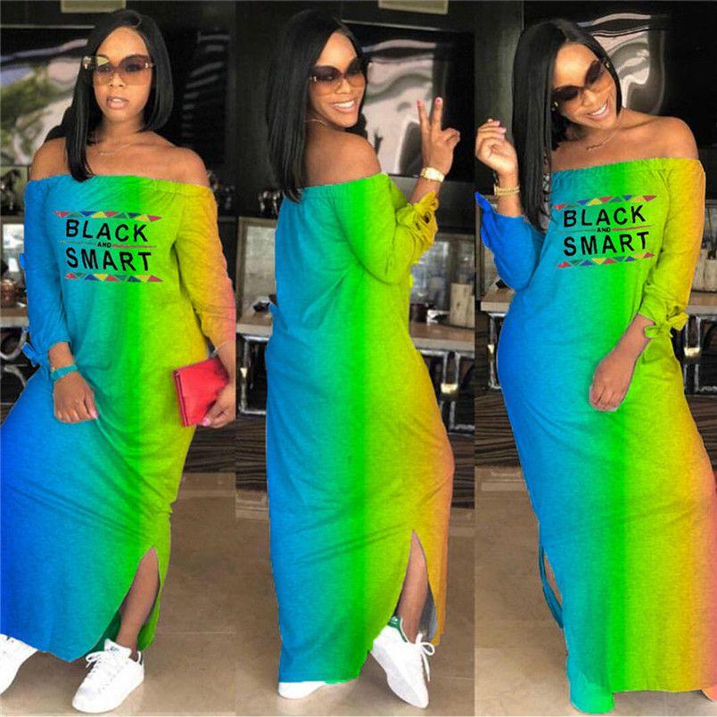 Schwarz Smart-Brief-Druck-Frauen-Entwurf-lange Kleid-Sommer-Steigung-Farben-Schulterfrei Maxikleider weg vom Schulter-beiläufigen Strand-Kleid DHL D7613