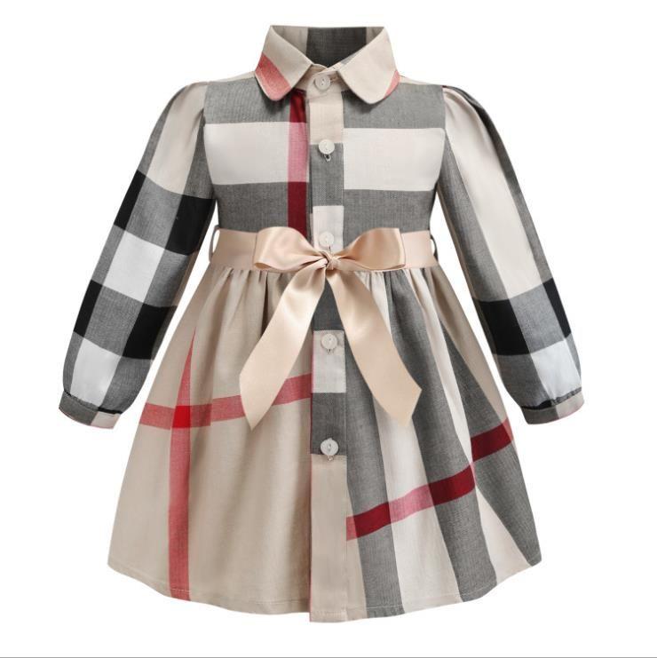 Кнопка малышей Девочки Plaid платье принцессы Дети отворотом вниз Тонкий плед юбка A-Line юбка хлопок девушки платье