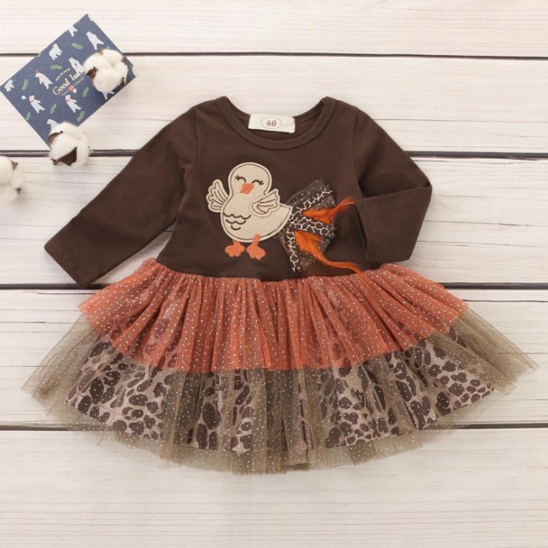 아기 소녀 드레스 추수 감사절 터키 공주 드레스 레이스 얇은 명주 그물 유아 소녀 드레스 디자이너 유아 의류 부티크 아기 의류 DHW4098