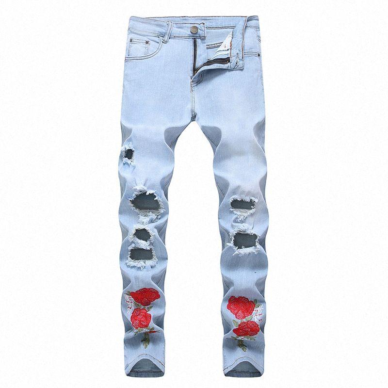 Slim extensible Mode Hommes Jeans Skinny Fleurs Déchiré Booty hommes Casual Denim Locomotive Ripped Pantalons Jeans de #