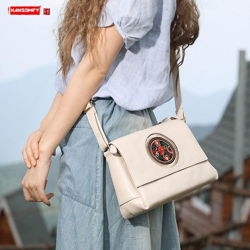 Новая натуральная кожа женщин сумки на ремне Женщины вышивки Повседневный Малый Crossbody Сумка женская Диагональный белый сумки кожа Messenger